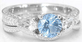 Three Stone Aquamarine and White Sapphire Engagement Ring and Wedding Band