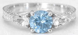 Aquamarine and White Sapphire Ring in 14k
