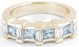 0.97 ctw Princess Cut Aquamarine and Baguette Diamond Ring