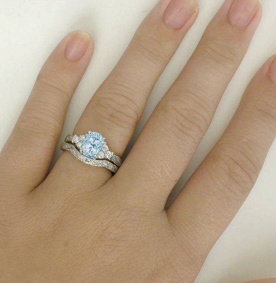 antique aquamarine enement ring in 14k white gold with engraved aquamarine wedding rings sets - Aquamarine Wedding Rings
