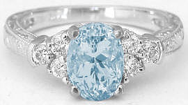 Aquamarine Diamond Engagement Ring with Engraving