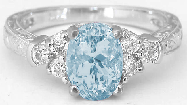 vintage aquamarine ring with engraving antique aquamarine diamond ring with engraving - Aquamarine Wedding Rings