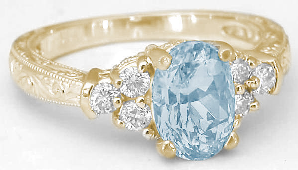 aquamarine ring in yellow gold with engraving gr 1129. Black Bedroom Furniture Sets. Home Design Ideas
