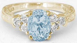 Engraved Aquamarine and Diamond Wedding Ring in 14k yellow gold