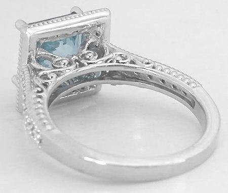 Princess Aquamarine And Diamond Ring In 14k White Gold