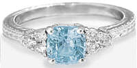 Aquamarine Engagement Rings in 14k white gold with Engraving