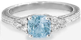 Antique Cushion Aquamarine and Diamond Rings with Engraving