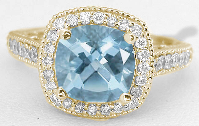 Cushion Aquamarine and Diamond Ring with Filigree Design in 14k
