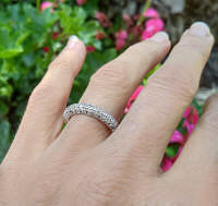 Ornate Genuine Real Diamond Ring in 14k white gold