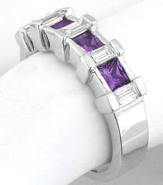 Gemstone: Natural Amethyst, Amethyst Wedding Rings In Gold