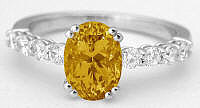 Oval Citrine Engagement Rings in 14k