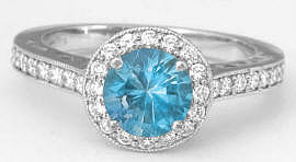 Unique Swiss Blue Topaz and Diamond Rings