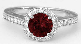 Garnet Diamond Engagement Ring in 14k