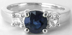 Sapphire Ring - Round - 1.27 ctw Blue Sapphire and White Sapphire - 14k white gold