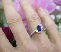 Oval Natural Blue Sapphire Engagement Ring with Real Diamonds in a 14k white gold band for sale