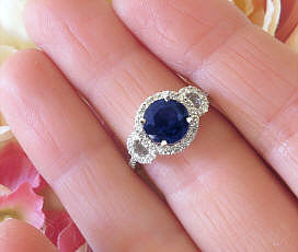 Round Dark Blue Natural Sapphire and Real Diamond Halo Engagment Ring in 14k white gold