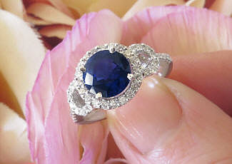 Dark Round Natural Blue Sapphire and Real Diamond Halo Ring in 14k white gold for sale