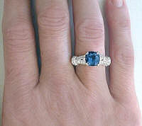 Hand View of London Blue Topaz Engagement Ring