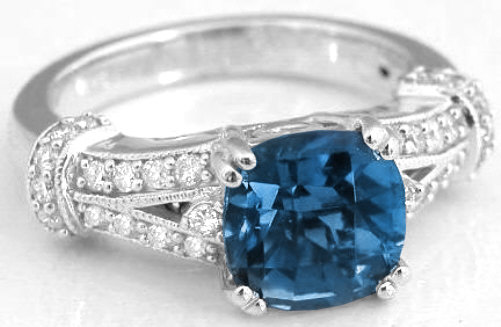 2 96 Ctw Cushion Cut London Blue Topaz And Diamond Ring In 14k White Gold