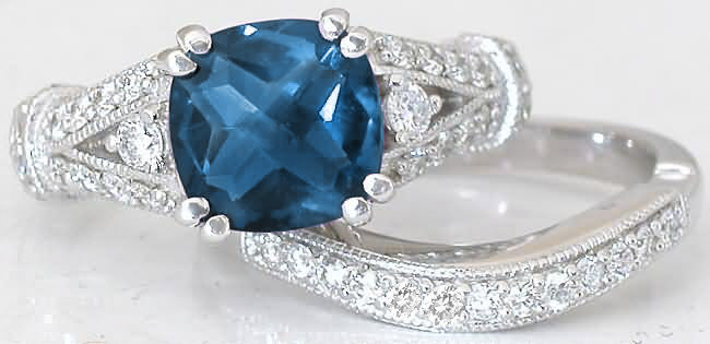 Cushion Cut Blue Topaz and Diamond Engagement Ring with Split Shank