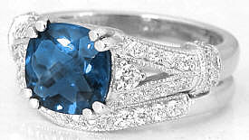 London Blue Topaz Ring with Wedding Band
