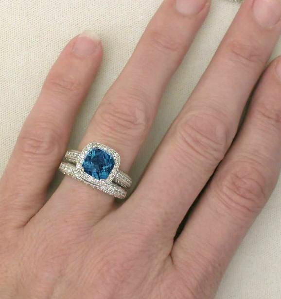Vintage London Blue Topaz Engagement Ring Gr 6109