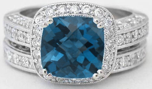 Vintage London Blue Topaz Engagement Ring Gr 6109