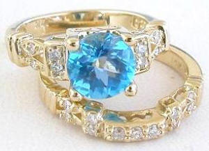 Swiss Blue Topaz and Diamond Engagement Ring and Wedding Band