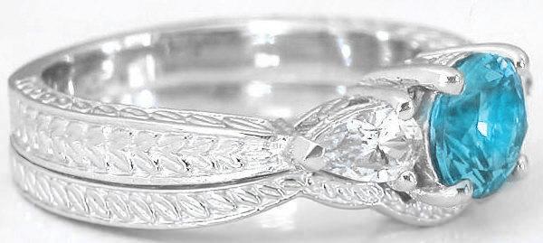diamond alternative swiss blue topaz engagement rings in 14k - Blue Topaz Wedding Rings