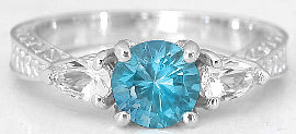 Swiss  Blue Topaz Rings in 14k White Gold