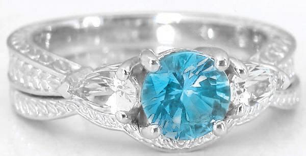 swiss blue topaz engagement rings in 14k white gold - Blue Topaz Wedding Rings