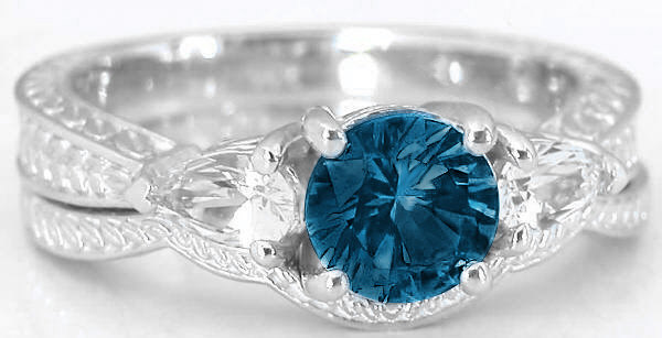 Three Stone Engraved Vintage London Blue Topaz White Sapphire Engagement Ring And Engraved Wedding Band In 14k White Gold Gr 6072