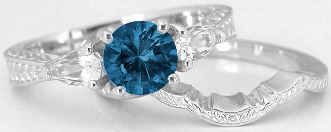 Three Stone Engraved Vintage London Blue Topaz White