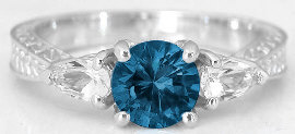 London Blue Topaz Rings in 14k White Gold