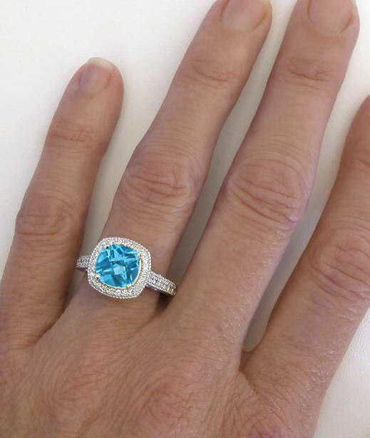 Cushion Cut Swiss Blue Topaz And Diamond Halo Ring With