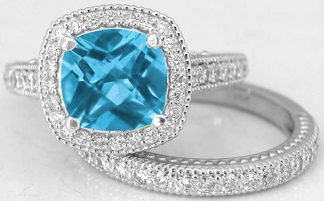 Diamond Halo Engagement Ring With Matching Band Swiss Blue Topaz Center Stone In 14k White Gold