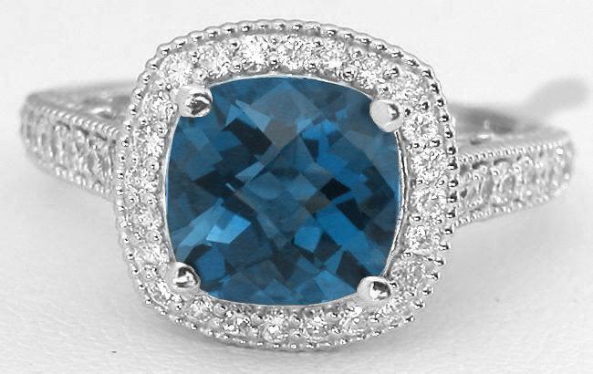 Vintage Filigree 3 0 Ctw London Blue Topaz And Diamond Ring In 14k White Gold