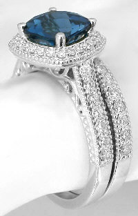 London Blue Topaz and Diamond Engagement Rings