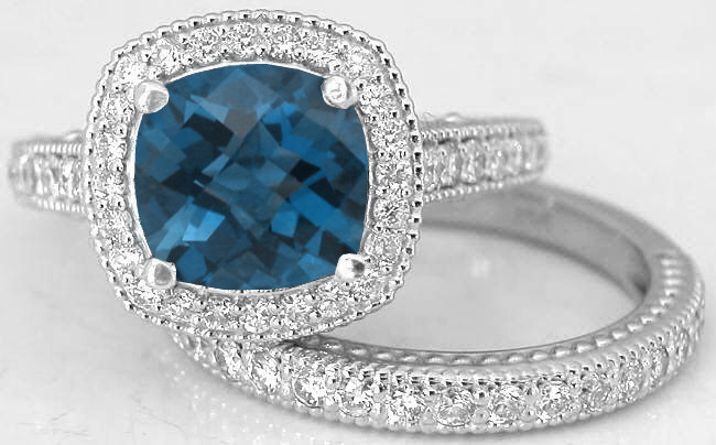 london blue topaz engagement ring - Blue Topaz Wedding Rings