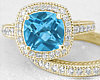 Swiss Blue Topaz Ring with Wedding Band in 14k Gold