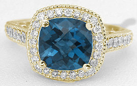 London Blue Topaz Diamond Halo Ring in 14k Yellow Gold