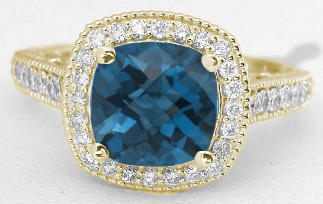 Cushion London Blue Topaz And Diamond Halo Ring With