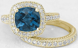 London Blue Topaz Diamond Halo Engagement Rings in 14k Yellow Gold