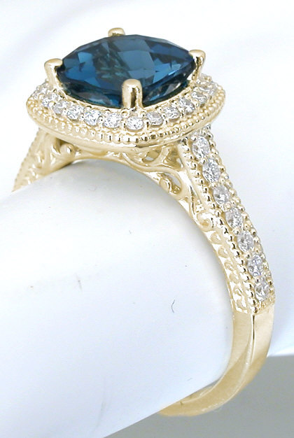 Stone Blue And White Diamond Ring