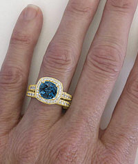 Vintage London Blue Topaz Diamond Halo Engagement Rings in 14k Yellow Gold