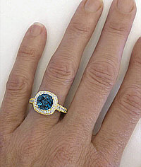 8mm Cushion London Blue Topaz Diamond Halo Ring in 14k Yellow Gold