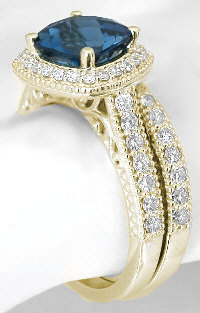 London Blue Topaz Diamond Halo Engagement Rings with Matching Band in 14k Yellow Gold