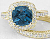 Filigree Blue Topaz Engagement Rings in 14k