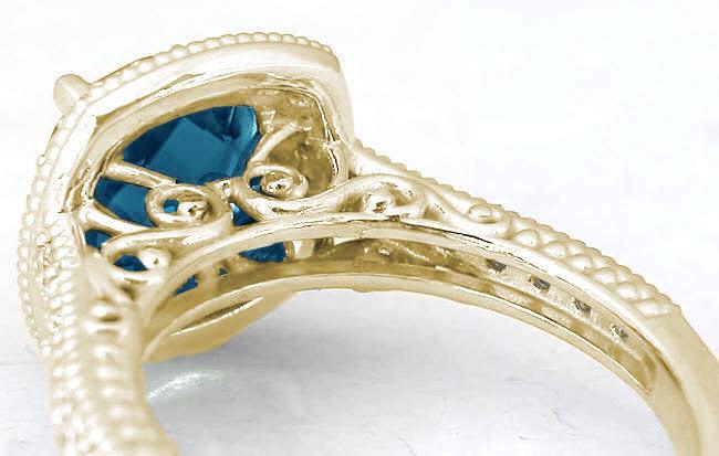 Cushion Cut London Blue Topaz Diamond Halo Engagement Ring