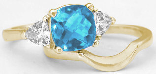 Gemstone Blue Topaz Engagement Rings with Matching Band